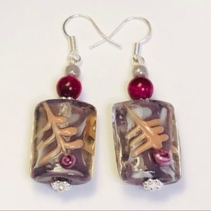 Lampwork Glass Lavender & Fuchsia Pink Earrings